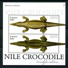 Liberia 2011 MNH Reptiles of Africa 2v S/S I Nile Crocodile Fauna Stamps