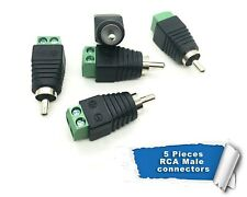 5pcs RCA Plug male connector speaker, AV/CCTV wire