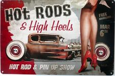 HOT RODS & HIGH HEELS GARAGE SIGN with an aged look Auto Memorabilia Metal Sign