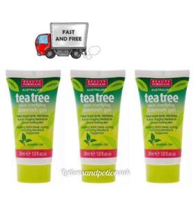 Beauty Formulas TEA TREE WITCH HAZEL Skin Clarifying Blemish Gel 30ML - 3 PACK