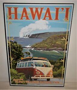"VW Van Cruising Hawaii Volcanoes National Park Framed Poster - 18"" x 12"" - NICE!"
