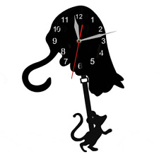 Curiouse Cat Catch Mouse Swinging Pendulum Wall Clock Time Clock Cat Lover Gift