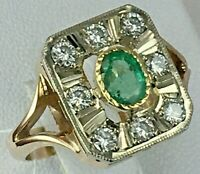 Vintage Original Tricolour Gold Natural Diamond Ring with Emerald 585 14K