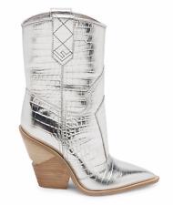 Fendi Cowboy Western Metallic Silver Croc Logo Pointed Toe Heel Boot Bootie 38.5