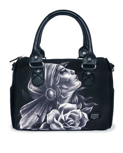 Liquor Brand Gypsy Fortune Skull Roses Gothic Punk Handbag Purse LB-ABDO-19005