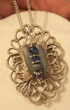 Lovely Swirled Open Silvertone Rhombus Blue Bead Strand Pendant Necklace Brooch