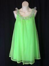 vtg Chiffon Nightgown sz S small Louis Jean Model Green crystal pleat 60s EXC ub