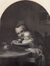 Antique print grandmother darling baby child c1860