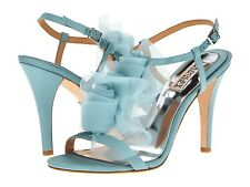 NIB Badgley Mischka CISSY Wedding Bridal heel sandals strap rosette shoes Blue 9