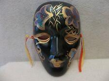 One (1) Porcelain Mardi Gras Mask - Black/Blue/Gold                         B2x2