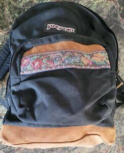 Vintage 90s Jansport Floral Leather Suede Bottom Made In USA Backpack