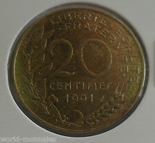 20 centimes marianne 1991 : SUP : pièce de monnaie française