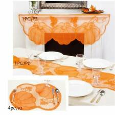 Thanksgiving Lace Fireplace Cloth Pumpkin Maple Leaf Mantle Home Table Decor J