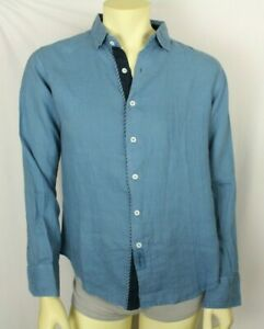 Claudio Milano Men's Shirt Blue Linen Size M (V787)