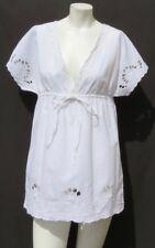NEW $49 BANANA REPUBLIC White Linen Cotton Eyelet Tunic Blouse Shirt Top size XS
