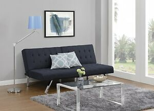 DHP Emily Futon Couch Bed, Modern Sofa Design Includes Sturdy Chrome Legs and Ri