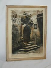 ORIGINAL VINTAGE HAND-COLORED ETCHING ON SILK BY E GEISSENDORFER  'Portal""