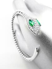 STUNNING Thin 18kt White Gold Plated Pave Green Crystals Serpent Snake Bracelet