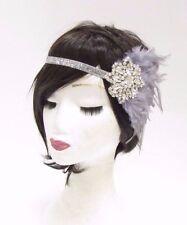 Silver Grey Pearl Feather Headpiece 1920s Headband Flapper Great Gatsby Vtg 2777