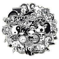 Mix Lot 50Pcs Black White Stickers Skateboard Graffiti Laptop Luggage Car Decal
