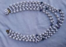 Vintage multistrand white and black beaded necklace collar style