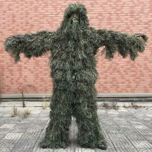 Camouflage Ghillie Suit 5pcs Sniper Tactical Clothes Set Outdoor Hunting Suit
