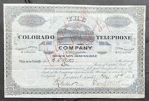 COLORADO TELEPHONE CO. Stock 1883. Early Denver Phone Company. Incorporated 1881