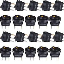 HOTSYSTEM 20-Pack Rocker Dot Toggle SPST Switch Yellow LED On-Off Control 12V