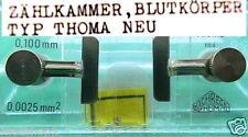 0,1mm BLUT ZÄHLKAMMER THOMA LABOR BLUTKÖRPER CELL COUNTING CHAMBER THR LEUKO ER