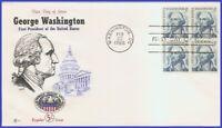 USA3 #1283 U/A COVER CRAFT FDC BL4  George Washington