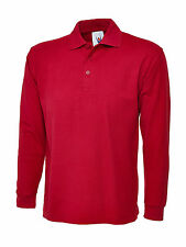 "2 X Uneek Long Sleeved Polo Shirt Classic Fit Tee Plain Style Work Top (uc113) XL 46"" Red"