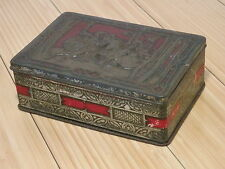 VTG RILEY'S TOFFEE CANDY TIN BOX Hinged Embossed Falconry Horse Medieval England