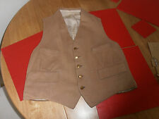 Vtg Tan Doeskin  Waistcoat with Brass Buttons Sz 36""