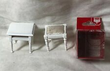 1:12 Town Square Miniature Dollhouse Furniture Wood White Stool Side Table #S