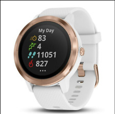 Garmin Vivoactive 3 GPS Smartwatch (White with Rose Gold) Leather Watch Strips