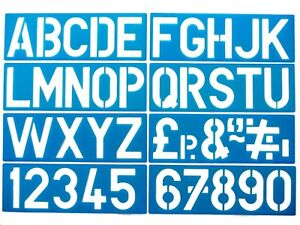 Alphabet Stencils Upper Case Letters 0-9 Numbers Sign Writing Pack of 8 100mm
