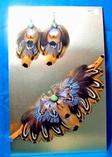 Feathered Earrings & Choker Necklace Set Pheasant Feathers & Turquoise FNE01