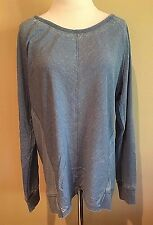 NWT Women's Warm Indigo Blue Stripe Long Sleeve Green Tea Casual Faded Top Large