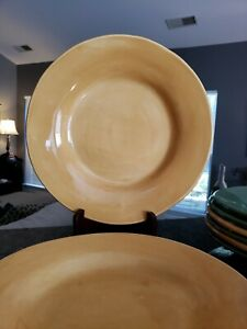 """2 Pottery Barn SAUSALITO AMBER Dinner Plates 12"""" Replacement Stoneware"""
