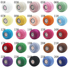 Lot of 26 colors Knit Crochet 100% Cotton Thread Lace Yarn strong making Yarn