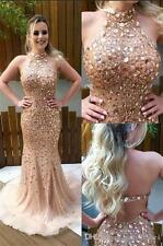 Crystal Long Formal Evening Dress 2018 Mermaid Celebrity Pageant Party Prom Gown