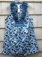 NWT MAX Studio Blue Cotton Voile Top Ruffle Neck Size Small retail  $78