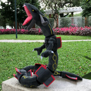 "Black Shiny Rayquaza 32"" Plush Mega Dragon Stuffed Toy Cartoon Soft Doll"