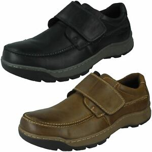 Mens Hush Puppies Casual Leather Hook and Loop Shoes Casper V