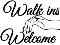 nail bar salon nails beauty walk ins welcome shop window sign wall art sticker