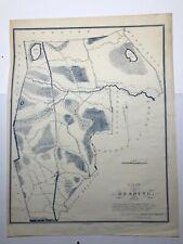 Antique Original 1831 Edmund Parker Plan of Reading, Massachusetts