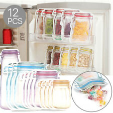 12/24/36 Mason Jar Zipper Bag Food Storage Snack Sandwich Ziplock Reusable Seal