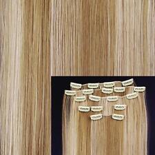 """8 X Extension De Cheveux A Clips Fibre Japonais 15"""" #27/613 Reflet Blond Femme"""