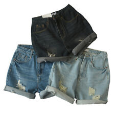 Ripped Black Cuffed Rolled Up Oversized High Waisted Denim Shorts AU RRP $35