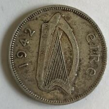 1942 Ireland Irish Shilling Eire Silver Coin #